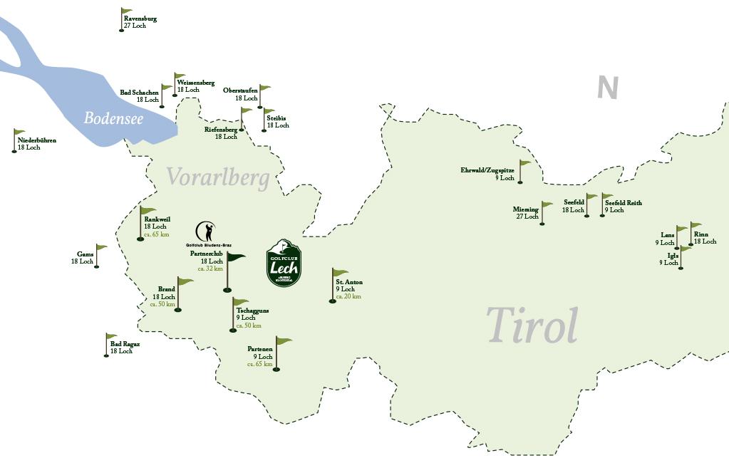 golfplätze bodensee karte Golfclub Lech: Golfregion Vorarlberg